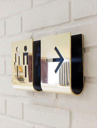تابلو راهنمای دیواری استیل با برش لیزر