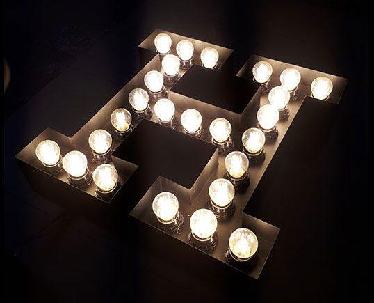 تابلو حروف لاسوگاسی لامپ ادیسونی