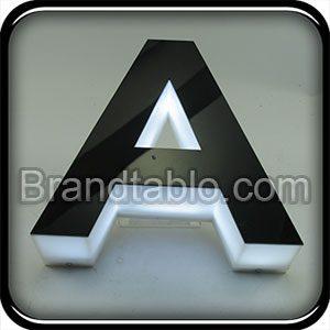 حروف برجسته پلاستیک لبه هندی سفید مشکی a