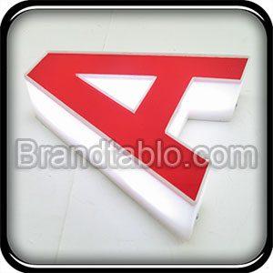 حروف برجسته پلاستیک لبه کنشکاف قرمز سفید a