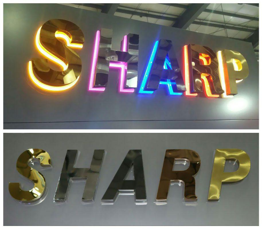 حروف برجسته شارپ استیل در رنگ های متنوع طلایی دودی نقره ای مسی و ابی با روشنایی نوراندریک و زیر پلکسی دوغی