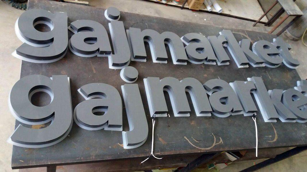 حروف برجسته فلز با رنگ دودی اپوکسی پلی استر