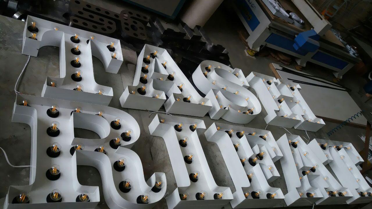 حروف فلزی رنگ رنگ استاتیک (لاس وگاسی) لامپ فلامینتی