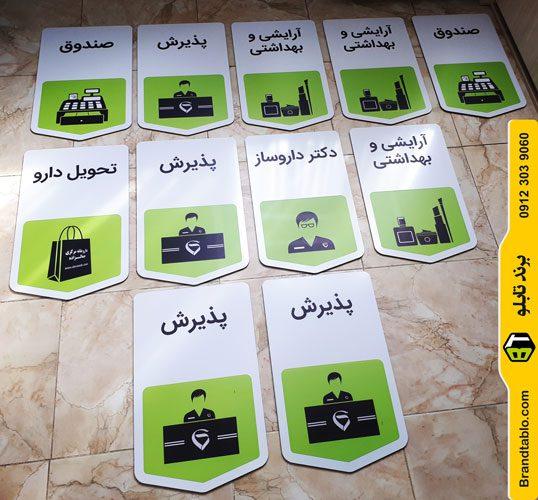 تابلو آویز پذیرش آرایشی و بهداشتی صندوق داروخانه