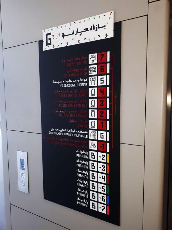 تابلو راهنمای کنار آسانسور