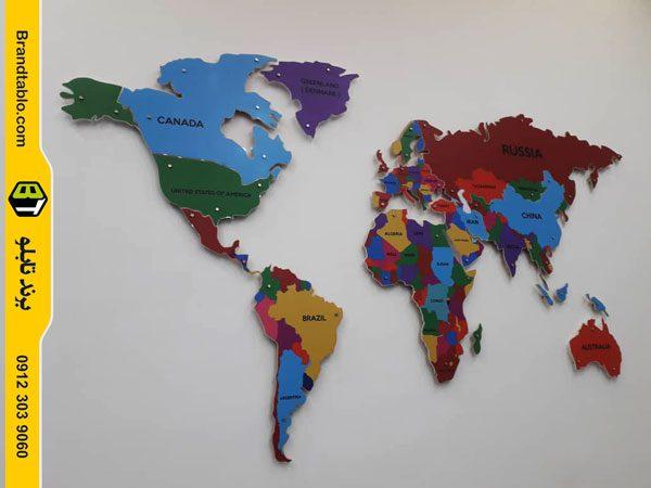 نقشه جهان رنگی دیواری